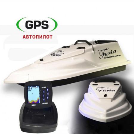 Прикормочный кораблик Фурия Шторм Белый с GPS автопилотом на 8+1 точек и эхолотом Lucky FF918