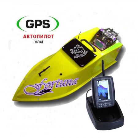 Кораблик для завоза прикормки Фортуна 15000 mAh с эхолотом Toslon TF500 и GPS автопилотом на 9+1 точек и 100 водоемов